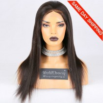 "Clearance Sale Brazilian Virgin Hair Natural Color 130% L-size Light Yaki 18"" Full Lace Wigs [CFW06]"