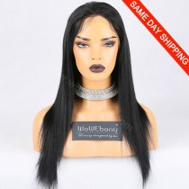 "Same Day Shipping Clearance Sale Chinese Virgin Hair #1 Color 130% M-size Light Yaki 18"" Full Lace Wigs[CFW03]"
