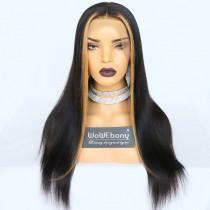 WowEbony Human Hair Hightlighted Fringe Yaki Straight 360 Lace Wigs [Tina]
