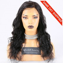 Same Day Shipping Clearance Sale 18 inches Full Lace Wig Peruvian Virgin Hair #1B Color 130% Density Small cap size Wavy