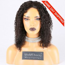 Same Day Shipping Clearance Sale 14 inches Natural Color 150% Density Medium cap size Indian Remy Hair Kinky Curl Lace Front Wig