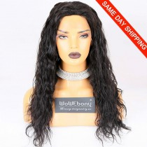 Same Day Shipping Clearance Sale 20 inches #1B Color 150% Density Medium cap size Indian Remy Hair Natural Wave 4*4 Silk Top Full Lace Wig