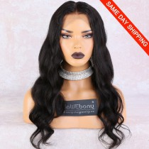 WowEbony 6 inches Deep Part Wave Lace Front Wigs Indian Remy Hair, 150% Density, Natural Color, Pre-Plucked Hairline, Pre-Bleached Knots, Pre-Added Elastic Band, 22 Inches, Natural Color [DLFW06]