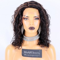 Fast Shipping WowEbony Human Hair Highlight Color #1B/30 18mm Curly Hair Curve T Part Glueless Lace Wigs [Curve16]