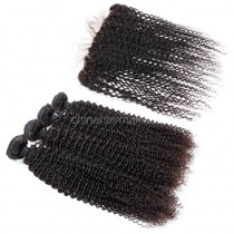 Malaysian virgin unprocessed natural color human hair wefts and 13*4 Lace Frontal Kinky Curly 4+1 pieces a lot Hair Bundles 95g/pc [MVKCLF4+1]