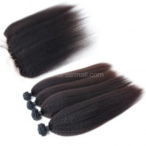 Malaysian virgin unprocessed natural color human hair wefts and 13*4 Lace Frontal Kinky Straight 4+1 pieces a lot Hair Bundles 95g/pc [MVKSLF4+1]