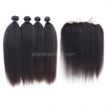 Brazilian virgin unprocessed human hair wefts and 13*4 Lace Frontal Kinky Straight 4+1 pieces a lot Hair Bundles 95g/pc [BVKSLF4+1]