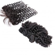 Malaysian virgin unprocessed natural color human hair wefts and 13*4 Lace Frontal Bouncy Curly 4+1 pieces a lot Hair Bundles 95g/pc [MVBCLF4+1]
