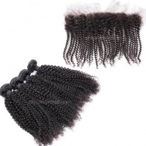 Peruvian virgin unprocessed human hair wefts and 13*4 Lace Frontal Afro Kinky Curly 4+1 pieces a lot Natural Color Hair Bundles 95g/pc [PVAKCLF4+1]