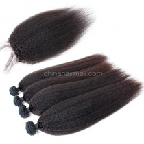 Peruvian virgin unprocessed human hair wefts and 4*4 Lace Closure Kinky Straight 4 +1 pieces a lot Natural Color Hair Bundles 95g/pc [PVKS4+1]