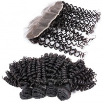 Brazilian virgin unprocessed human hair wefts and 13*4 Lace Frontal Bouncy Curly 4+1 pieces a lot Hair Bundles 95g/pc [BVBCLF4+1]