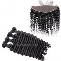 Brazilian virgin unprocessed human hair wefts and 13*4 Lace Frontal Deep Wave 4+1 pieces a lot Hair Bundles 95g/pc [BVDWLF4+1]