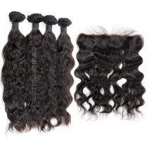 Peruvian virgin unprocessed human hair wefts and 13*4 Lace Frontal Natural Wave 4+1 pieces a lot Natural Color Hair Bundles 95g/pc [PVNWLF4+1]