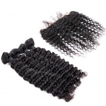 Malaysian virgin unprocessed natural color human hair wefts and 13*4 Lace Frontal Deep Wave 4+1 pieces a lot Hair Bundles 95g/pc [MVDWLF4+1]