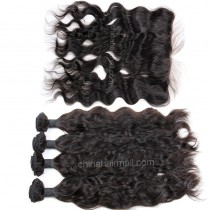 Brazilian virgin unprocessed human hair wefts and 13*4 Lace Frontal Natural Wave 4+1 pieces a lot Hair Bundles 95g/pc [BVNWLF4+1]