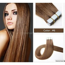 Seamless tape in hair extensions in virgin remy human hair light brown #6 color straight 0.8*4cm size 20 pcs per set [TP20-6]