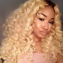 Glueless Lace Front Wigs Peruvian Virgin Hair Curly Ombre Wigs #1B/613