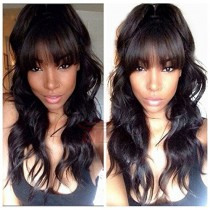 WowEbony 6 Inches Dee Part Pre-Plucked Super Wave with Bangs 360 Lace Wigs 150% density, 100% Indian Remy Hair 360 Wig [N360SWB01]
