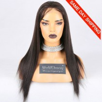 Same Day Shipping Clearance Sale 18 inches Full Lace Wigs Malaysian Virgin Hair #2 Color 130% Density Large cap size Light Yaki
