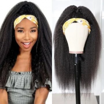 Ship in 3 Days WowEbony Indian Remy Hair Textured Kinky Straight Headband Wigs Blow Out Natural Hair with Free Headband[HBW01]