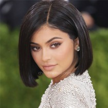 Kylie  Jenner Style Glueless Lace Front Wigs Indian Remy Hair Short  Bob Wig Yaki Straight  [BOBL10]