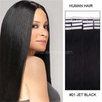Seamless tape in hair extensions in virgin remy human hair straight 0.8*4cm size 20 pcs per set [TP20-1]