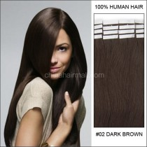 Seamless tape in hair extensions in virgin remy human hair dark brown #2 color straight 0.8*4cm size 20 pcs per set [TP20-2]