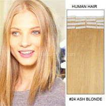 Seamless tape in hair extensions in virgin remy human hair honey blonde #24 color straight 0.8*4cm size 40 pcs per set [TP40-24]