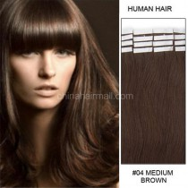 Seamless tape in hair extensions in virgin remy human hair medium brown #4 color straight 0.8*4cm size 20 pcs per set [TP20-4]