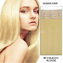 Seamless tape in hair extensions in virgin remy human hair bleached blonde #613 color straight 0.8*4cm size 20 pcs per set [TP20-613]
