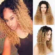 Glueless Lace Front Wigs Peruvian Virgin Hair Curly Ombre Wigs #NC/27