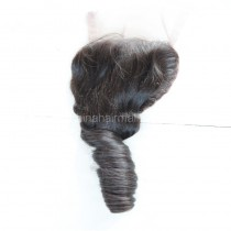 Brazilian Virgin Human Hair 4*4 Popular Lace Closure Romance Curly Natural Hair Line and Baby Hair [BVRCTC]