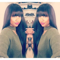 Glueless Lace Front Wigs Brazilian Virgin Human Hair Yaki Straight Wig With Full Bangs