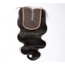 Peruvian Virgin Human Hair 4*4 Popular Lace Closure Body Wave Natural Hair Line and Baby Hair [PVBWTC]