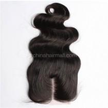 Malaysian Virgin Human Hair 4*4 Popular Lace Closure Body Wave Natural Hair Line and Baby Hair [MVBWTC]