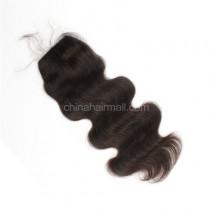 Brazilian Virgin Human Hair 4*4 Popular Silk Base Lace Closure Body Wave Natural Hair Line and Baby Hair [BVBWSTC]