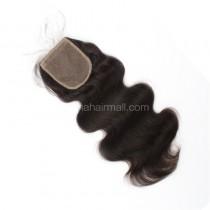 Peruvian Virgin Human Hair Popular 4*4 Silk Base Lace Closure Body Wave Natural Hair Line and Baby Hair [PVBWSTC]