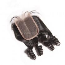 Brazilian Virgin Human Hair 4*4 Popular Lace Closure Bouncy Curly  Natural Hair Line and Baby Hair [BVBCTC]