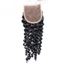 Malaysian Virgin Human Hair 4*4 Popular Lace Closure Brazilian Curly Natural Hair Line and Baby Hair [MVBRCTC]