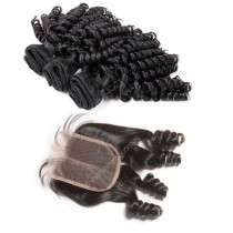 Brazilian virgin unprocessed human hair wefts and 4*4 Lace Closure Bouncy Curly 3 +1 pieces a lot Hair Bundles 95g/pc [BVBC3+1]