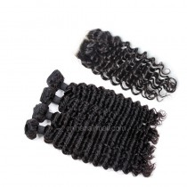 Brazilian virgin unprocessed human hair wefts and 4*4 Lace Closure Deep Wave 4+1 pieces a lot Hair Bundles 95g/pc  [BVDW4+1]