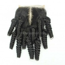 Brazilian Virgin Human Hair 4*4 Popular Lace Closure Funmi Curly Natural Hair Line and Baby Hair [BVFCTC]