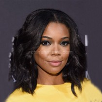 Glueless Lace Front Wigs Indian Remy Hair Bob Wig Loose Wave 150% Density