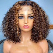 WoWEbony Human Hair Highlight Color #4/27 Curly Glueless Lace Bob Wigs [Honey]