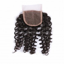 Peruvian Virgin Human Hair 4*4 Popular Lace Closure Loose Curly Natural Hair Line and Baby Hair [PVLCTC]