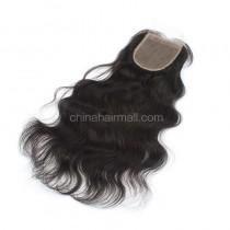 Malaysian Virgin Human Hair 4*4 Popular Silk Base Lace Closure Natural Wave Natural Hair Line and Baby Hair [MVNWSTC]