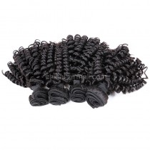 Peruvian virgin unprocessed human hair wefts Natural Color Bouncy Curly 4 pieces a lot 95g/pc [PVBC04]