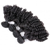 Peruvian virgin unprocessed human hair wefts Natural Color Funmi Curly 4 pieces a lot 95g/p[PVFC04]