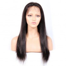 WowEbony #1B/#27 Highlight Color Lace Front Wigs Indian Virgin Human Hair Yaki Straight [HLLFW02]