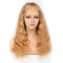 WowEbony Blonde #27 Color Glueless Full Lace Wigs Peruvian Virgin Hair Natural Wave [GBLFW05]